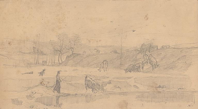 Paysage avec paysanne et son troupeau de vaches_0