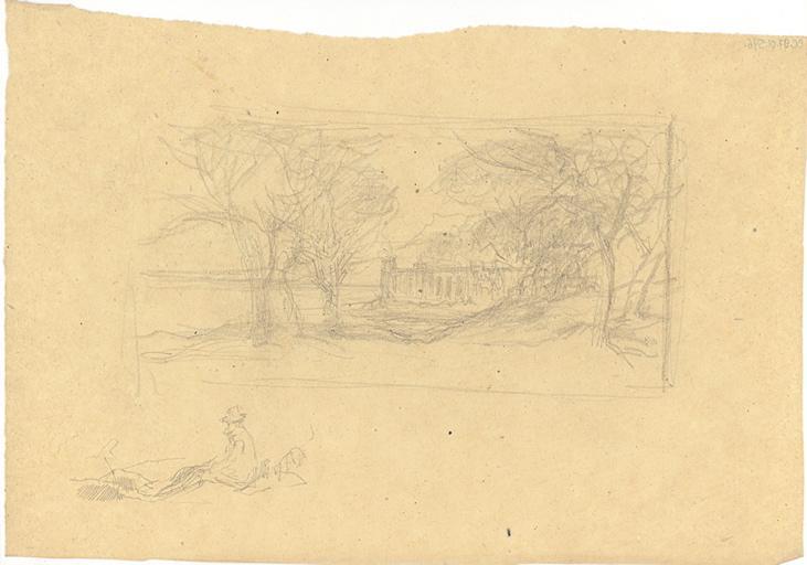 Etude de paysage avec monument ; étude d'homme assis sur le sol_0
