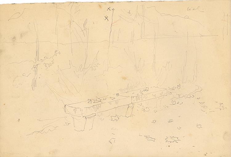 Etude de banc en pierre (recto). Etude de banc en pierre et silhouette de femme (verso)