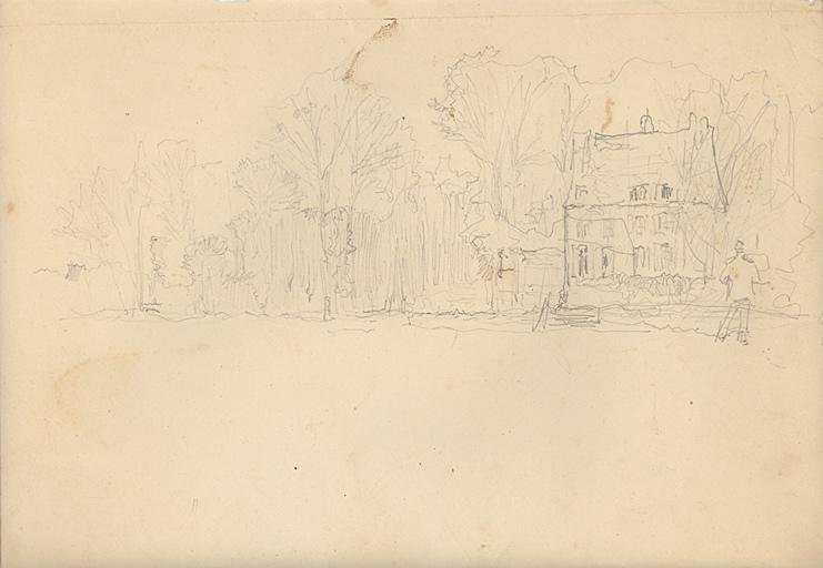 Peintre à son chevalet devant une maison (recto). Etudes de banc en pierre (verso)_0