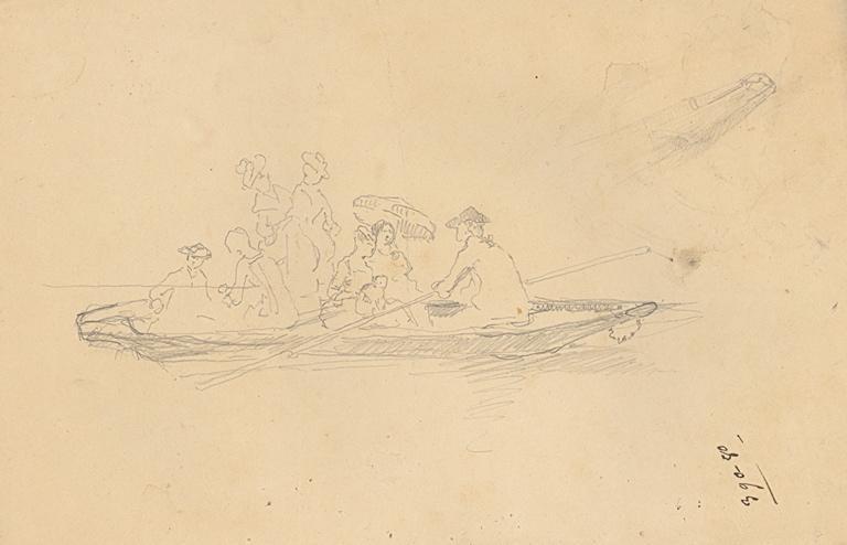 Etude de promenade en barque (recto, verso)