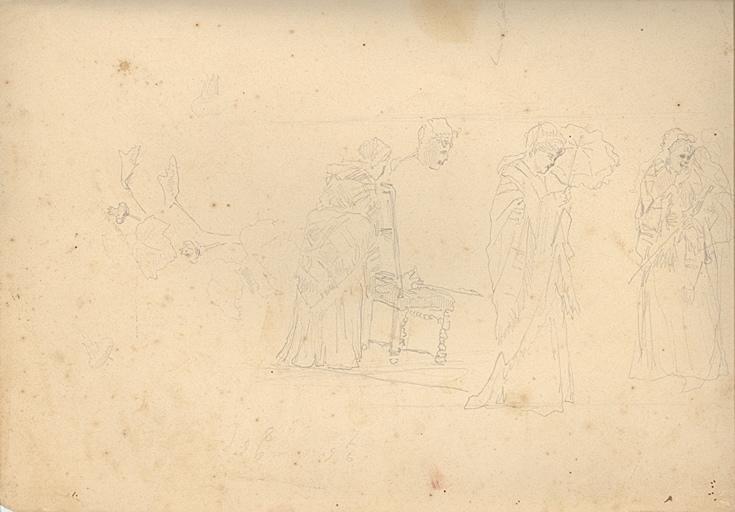 Etudes de servante à l'ombrelle (recto). Homme et cabane (verso)_0