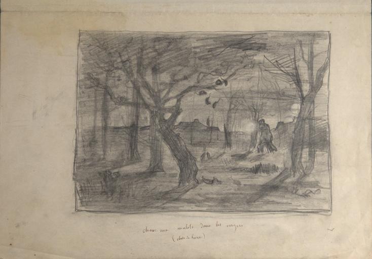 Chasse aux mulots dans les vergers (clair de lune) (recto). Pêche au [gouïre] - Loire (verso)