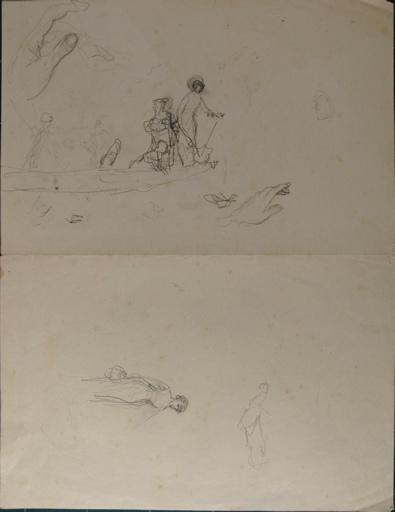Etude de promenade en barque ; étude de femme au panier ; étude de main_0