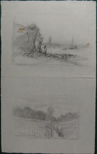 Paysage avec berger et son troupeau ; paysage (recto). Etudes de voiliers (verso)_0