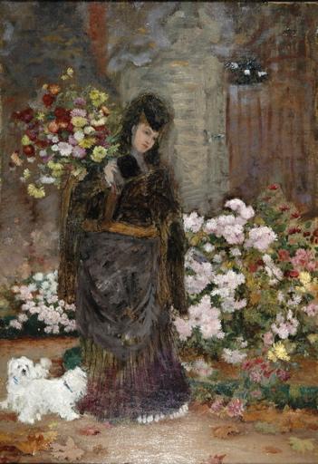 Femme aux bichons et chrysanthèmes_0