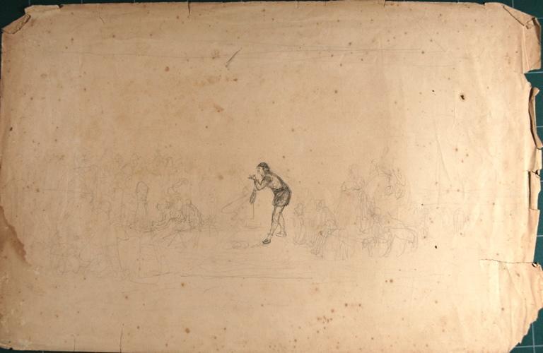 Etude de montre d'animaux (recto). Etude de château (verso)