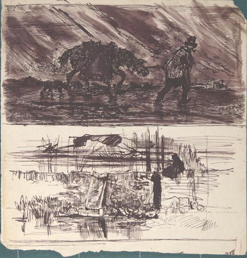 Etude d'homme et son cheval sous un orage (en haut). Etude de gardienne d'oies (en bas)_0