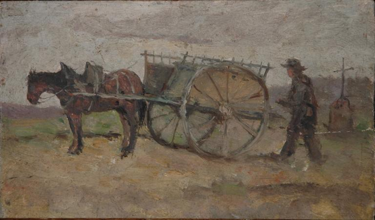 Paysan, son cheval et sa charrette (recto). Prairie en automne (verso)_0
