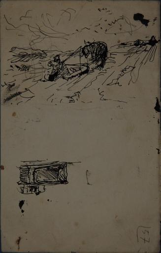Etude de femme et fillette portant un seau (recto). Etude de scène de labour (verso)