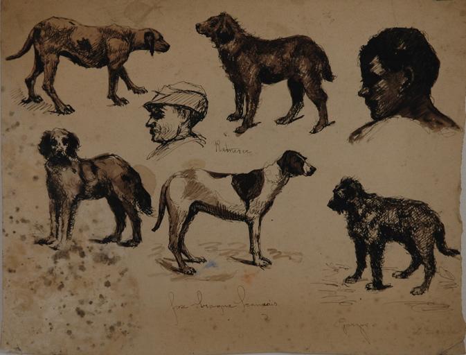 Etudes de chiens et têtes d'homme de profil (recto). Etudes de personnages (verso)_0