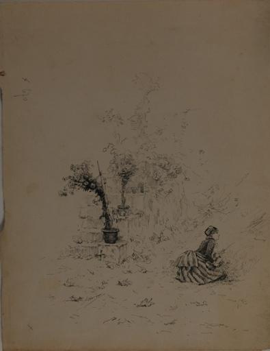 Etude de jeune fille accroupie dans un jardin