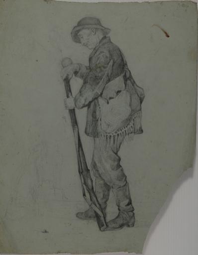 Etude de chasseur chargeant son fusil de poudre_0