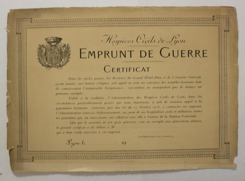 Hospices Civils de Lyon - Emprunt de Guerre - Certificat