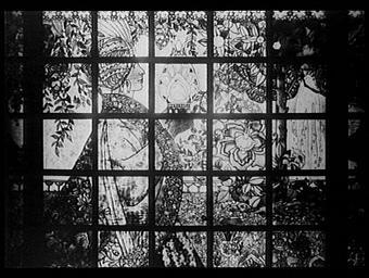 Galeries des écoles d'art de France : vitrail du salon d'un magasin d'art décoratif moderne
