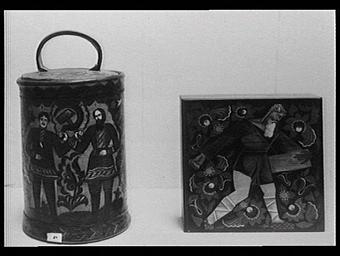 Section de l'U.R.S.S. : art paysan Koustari, boîtes en écorce de bouleau décorées de peinture