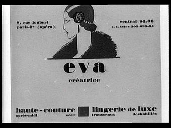 Carte réclame pour Eva, créatrice