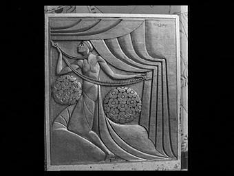 La Nouveauté, bas-relief de l'entrée du pavillon Pomone