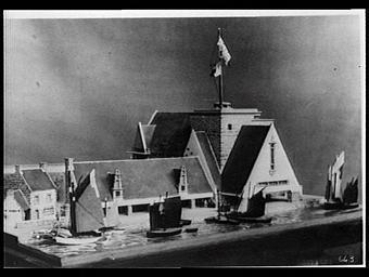 Exposition internationale ; maquette ; pavillon d'exposition ; bâteau à voile