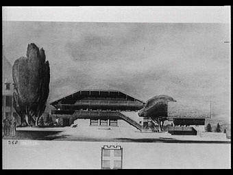 Exposition internationale ; pavillon d'exposition ; projet ; dessin ; armoirie