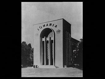 Exposition internationale ; pavillon d'exposition ; façade ; armoirie ; projet ; dessin