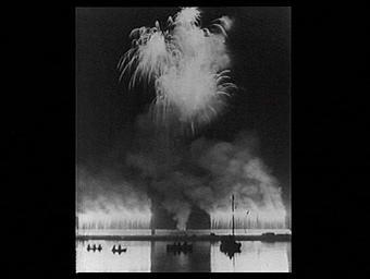 Exposition internationale ; spectacle pyrotechnique ; fleuve ; projet ; dessin ; bâteau ; tour