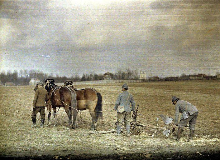Laboureurs militaires à la Haubette : un civil dirigeant deux chevaux, deux soldats tenant le soc