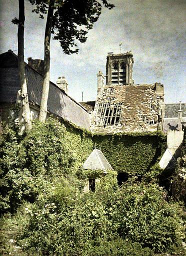 Chambre des Notaires : toit endommagé, vue sur la cathédrale. La végétation du jardin a envahi la cour