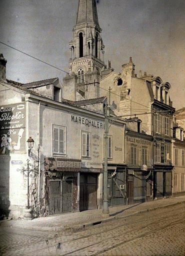 Rue du Faubourg Ceres (clocher de Saint-André) ; Boutiques