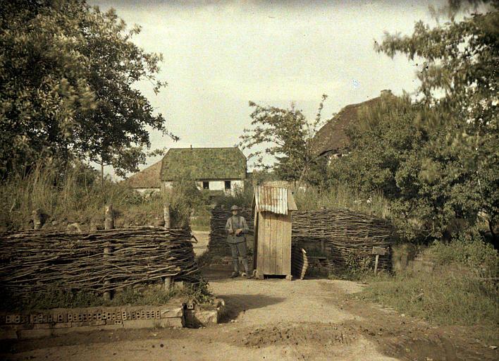 Entrée du village : haies de camouflage