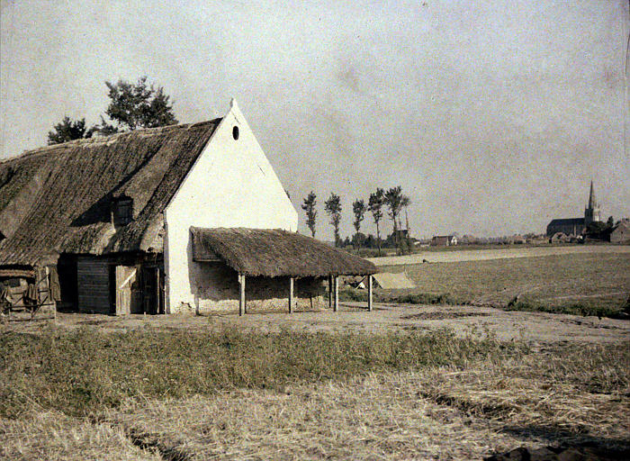 Bâtiment de ferme couvert de chaume
