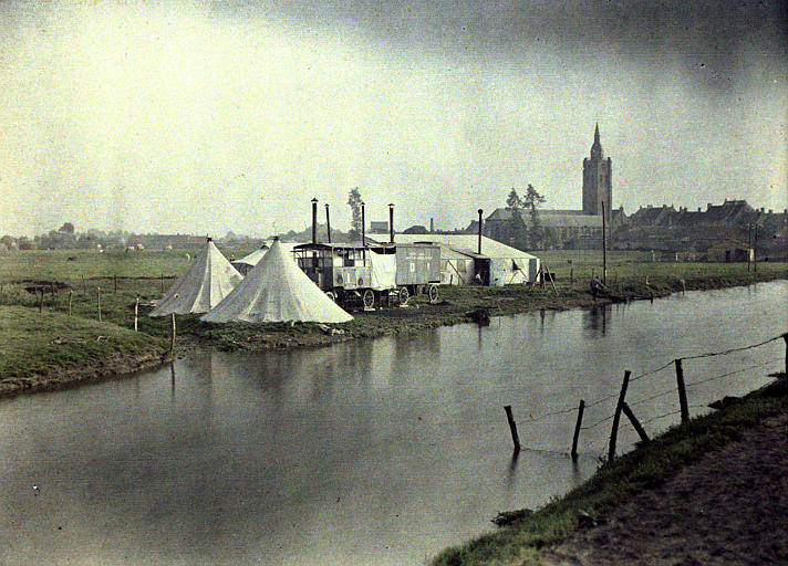 Campement au bord de l'Yser