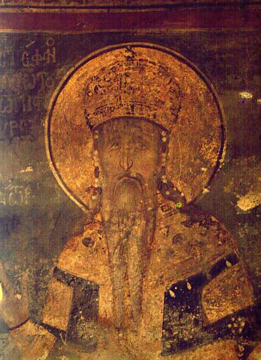 Fresque byzantine : le roi Stevan Milutine, serbe, Xe siècle retiré au monastère à l'âge de 70 ans