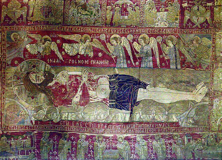 Etoffe brodée : La Mort du Christ