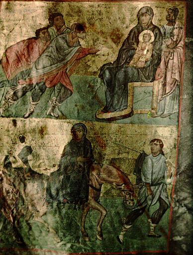 Miniature extraite d'un manuscrit : La Fuite en Egypte et L'Adoration des bergers