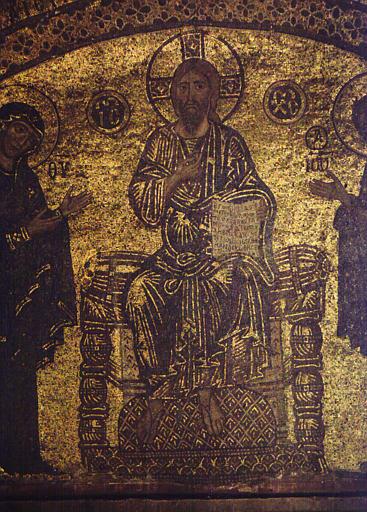 Détail d'une mosaïque : le Christ en gloire
