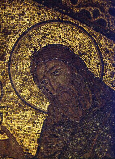 Détail d'une mosaïque représentant le Christ en gloire