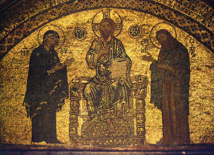 Mosaïque : le Christ en gloire, vue éloignée du Christ, Vierge et d'un personnage (saint Jean)