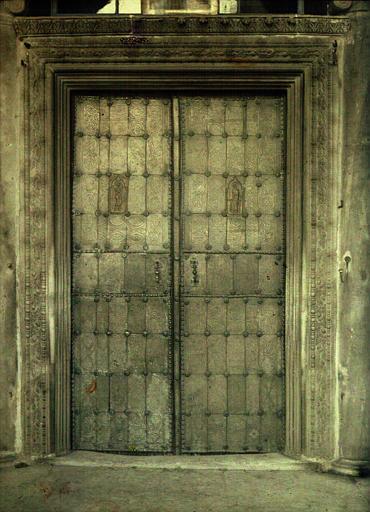 Battants de bronze de la porte de l'église Katholicon (XVe siecle : ancienne porte de l'église Sainte-Sophie de Salonique)