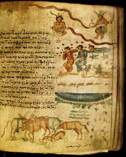 Miniature polychrome d'un manuscrit représentant des personnages, des animaux, des insectes