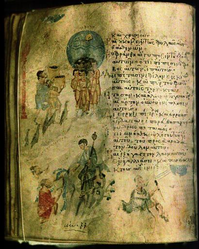 Manuscrit avec illustration : scènes à caractère religieux