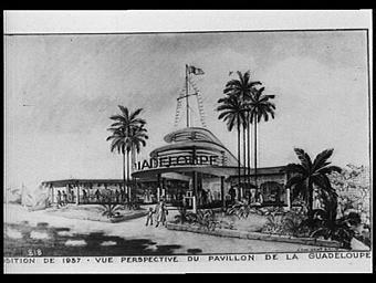 Dessin : Vue perspective du Pavillon de la Guadeloupe