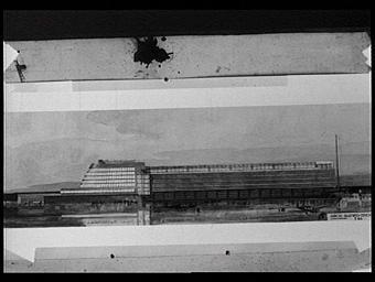 Dessin : Palais de l'Aéronautique, façade latérale sur l'esplanade des Invalides