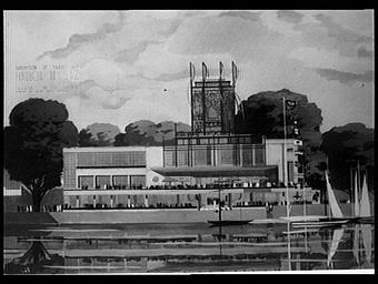 Dessin : Pavillon du Gaz, façade sur la Seine