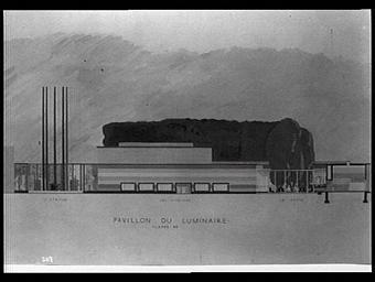Aquarelle : Pavillon du Luminaire, Classe 39, l'atrium, les vitrines, le patio