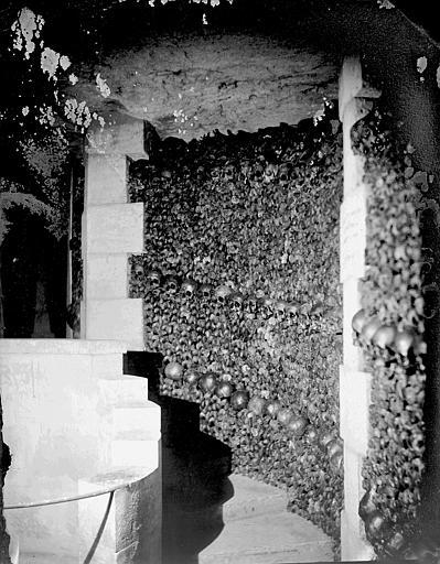 Vue intérieure d'une galerie : murs d'ossements