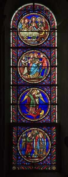 Ensemble de 12 verrières historiées : scènes de la vie de la Vierge, scènes de la vie du Christ, scènes de la vie des saints (baies 0, 1, 2, 5, 6, 7, 9, 11, 12, 13, 14, 17)