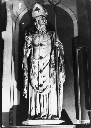 Statue de saint Blaise, bois peint, 19e siècle