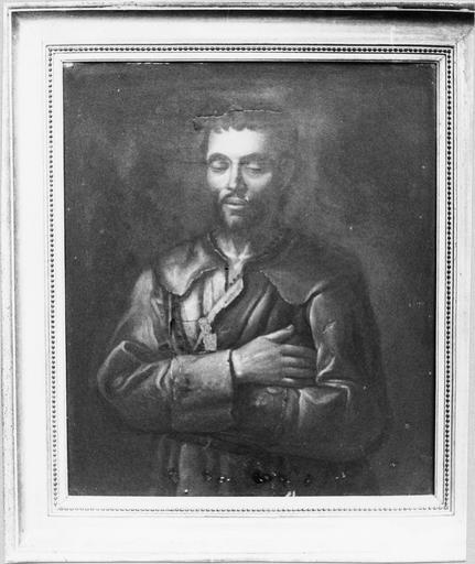 Tableau : Benoît Labre, toile et cadre doré, 19e siècle