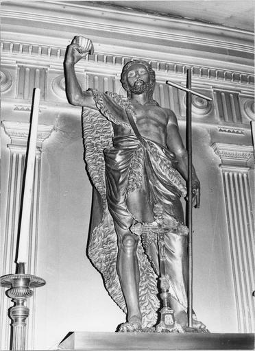 Statue de saint Jean-Baptiste bois peint et doré, 19e siècle